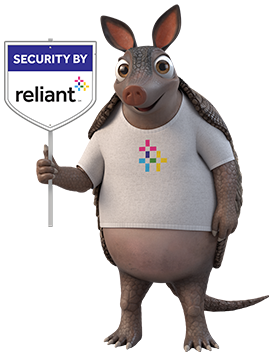 Home Security Armadillo with sign
