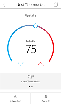 Reliant app Nest Thermostat adjust