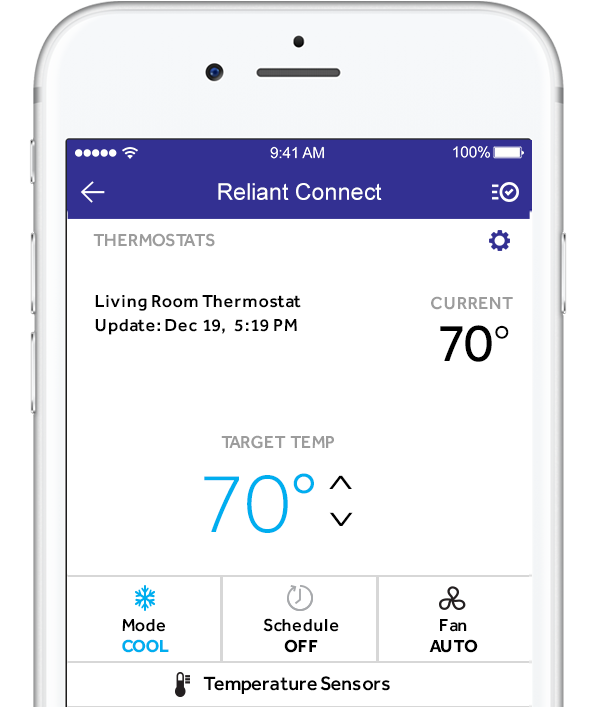 Mobile phone viewing Reliant Connect app Smart Thermostat screen.